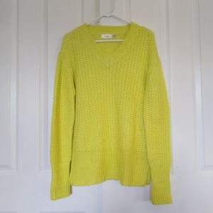 Cloth By RD V Neck Neon Yellow Knit Sweater Small